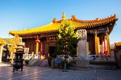 Wutaishan (góra Wutai) scena. Manjusri (Wenshu) Hall Buddha wierzchołka (Pusa Ding) świątynia. Obrazy Royalty Free