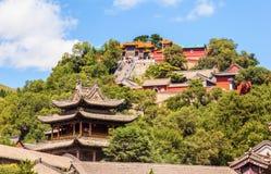 Wutaishan (góra Wutai) scena. Patrzeje up Buddha wierzchołka świątynię. (Pusa Ding) Obraz Stock