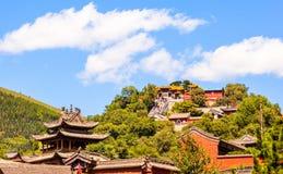 Wutaishan (góra Wutai) scena. Patrzeje up Buddha wierzchołka świątynię. (Pusa Ding) Zdjęcia Stock