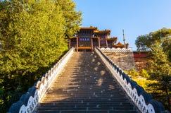 Wutaishan (góra Wutai) scena. Patrzeje up Buddha wierzchołka świątynię. (Pusa Ding) Zdjęcie Royalty Free