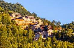 Wutaishan (góra Wutai) scena. Przegapia Nanshan świątynię. Zdjęcia Royalty Free