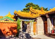 Wutaishan(Mount Wutai) scene-Courtyard of Buddha top(Pusa Ding) temple. Courtyard of Buddha top(Pusa Ding) temple. The Buddha top temple is one of Mount Wutai Stock Photo