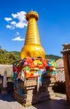 Wutaishan(Mount Wutai) scene. Gold stupa. Stock Photos