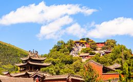 Wutaishan(Mount Wutai) scene. Look up Buddha top(Pusa Ding) temple. Stock Photos