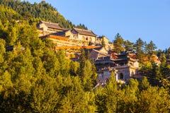 Wutaishan(Mount Wutai) scene. Overlook Nanshan temple. Royalty Free Stock Photo