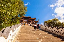 Wutaishan(Mount Wutai) scene. The 108 steps in front of Buddha top(Pusa Ding) temple. Royalty Free Stock Photos