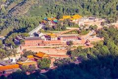Wutaishan (Onderstel Wutai) de hoogste (Pusa Ding) tempel scène-overziet van Boedha. Stock Foto