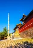 Wutaishan (Onderstel Wutai) scène. De hoofdingang de hoogste (Pusa Ding) tempel van van Boedha. Royalty-vrije Stock Foto's