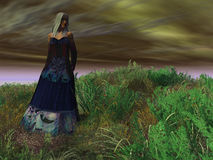 Wuthering Heights. Rendered image of woman in period dress on moorland under desolate sky Stock Photography