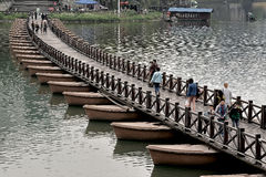 Wutong China-Pontoon Bridge Stock Images
