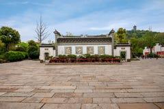Wuxi, Jiangsu Huishan stadvägg och bågen Arkivbild