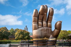 Wuxi Lingshan Dafo scenic first in the world palm. The first palm of the hand is located in the left hand side of the bergamot Plaza, is a copy of the right hand Stock Image