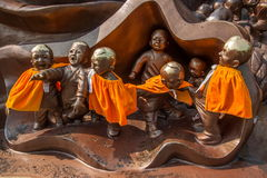 Wuxi Lingshan Giant Buddha Scenic Area '100 children play Maitreya' large bronze sculpture Stock Image