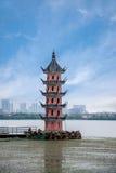 Wuxi Taihu Lake Li Ning Chun tower. It was built in 1936. Li Yuan is a famous scenic spot in Wuxi. Is a national key scenic spots Taihu Lake royalty free stock images