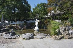 Wuxi yixing yu-tam park jade statue. The jade lake is located in lianzi hill, southwest of yixing city. The scenic spots are mainly `yuyang dongtian` and `yutan Stock Image