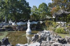 Wuxi yixing yu-tam park jade statue. The jade lake is located in lianzi hill, southwest of yixing city. The scenic spots are mainly `yuyang dongtian` and `yutan Royalty Free Stock Photos
