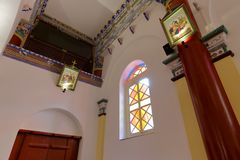 Wuxingjie教会里面,多孔黏土rgb 库存照片