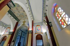 Wuxingjie-Kirche Innen, luftgetrockneter Ziegelstein rgb Stockbild