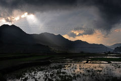 Wuyan province. Mountains and rice fields in Wuyan province China Stock Image