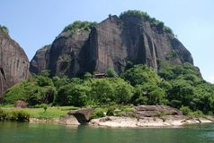 Wuyi mountain. Is a typical Danxia landform in Fujian, China, which is famous for its mountain, river and tea. In December 1999, it was listed by UNESCO as Royalty Free Stock Photos