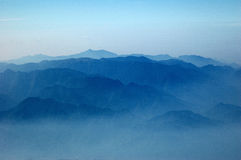Wuyishan mountain countour. This pic was taken in the plane while taking off from the airport Royalty Free Stock Image