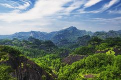 Wuyishan scenic area landscape china. A landscape picture of the mountains and hills of Wuyishan in Fujian province China royalty free stock images