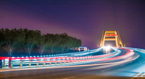 Wuyuan Bay Bridge Night. Eastphoto, tukuchina,  Wuyuan Bay Bridge Night Royalty Free Stock Photography