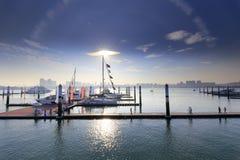 Wuyuanwan游艇码头下午 免版税库存图片