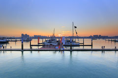 Wuyuanwan yacht pier sunset Stock Photo