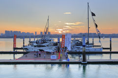 Wuyuanwan yacht pier twilight. Dusk of yacht marina in wuyuanwan bay, amoy city, china Stock Image