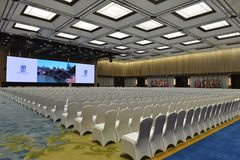 The meeting hall in the Wuzhen Internet International Convention and Exhibition Center. The Wuzhen Internet International Conference and Exhibition Center is Royalty Free Stock Photo
