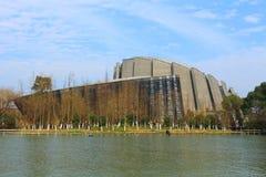 Wuzhen Internetowa konferencja międzynarodowa & Powystawowy centrum pod niebieskim niebem obraz royalty free