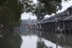 Wuzhen old house beside the river Stock Photos