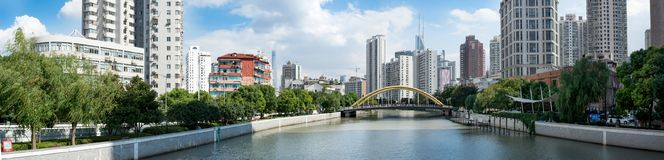 Wuzhen Road Bridge over Suzhou Creek, Shanghai. View of Wuzhen Road Bridge over Suzhou Creek Wusong River with Jing`an districts on the left and Huangpu on the Royalty Free Stock Images