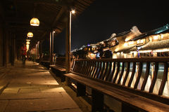 Wuzhen Town At Night. Ancient covered corridors and buildings at night. Wuzhen. Zhejiang. China Stock Photo