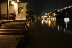 Wuzhen Town At Night. Ancient wharf and buildings at night. Wuzhen. Zhejiang. China Royalty Free Stock Images