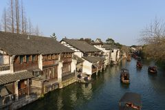 The scenery of Wuzhen town in Zhejiang, China. Wuzhen, a 1300-year-old water town on the lower reaches of the Yangtze River, is a national 5A scenic area and one stock photos