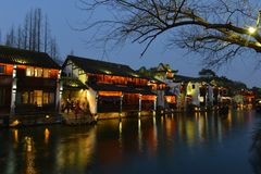 The night scene of Wuzhen town in Zhejiang, China. Wuzhen, a 1300-year-old water town on the lower reaches of the Yangtze River, is a national 5A scenic area and royalty free stock photos
