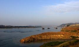 Wuzhou overlooking the Xijiang. China   Rivers   Landscape  Blue sky Royalty Free Stock Photo