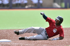 WV Black Bears Baseball - first season. MORGANTOWN, WV - JUNE 21: Mahoning Valley Scrappers right fielder D'vone McClure (1) slides into second base during a NY stock photos