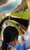 WVU Band tuba - reflecting crowd Royalty Free Stock Photos