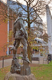 WVU Campus - Morgantown, West Virginia. MORGANTOWN - NOVEMBER 23: The bronze Mountaineer statue stands in front of the Mountainlair student center November 23 royalty free stock image