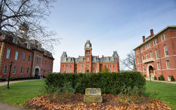 WVU Campus - Morgantown, West Virginia. MORGANTOWN - NOVEMBER 23: Woodburn Circle buildings on West Virginia University's (WVU) downtown campus as shown November royalty free stock photography