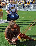 WVU Mountaineer tee shirt toss Stock Image