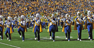 WVU Pride of West Virginia marching band. MORGANTOWN, WV - NOVEMBER 5: The Pride of West Virginia marching band performs on the field prior to the football game Royalty Free Stock Images