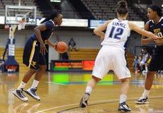 WVU women's basketball - Korinne Campbell. VILLANOVA, PA - DECEMBER 9: West Virginia University women's basketball guard Korinne Campbell  (with ball) looks to Royalty Free Stock Photos