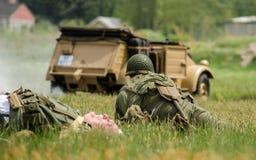 Ww 2 żołnierza w bitwie Zdjęcia Royalty Free