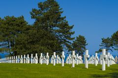 WW2 αμερικανικό νεκροταφείο και αναμνηστικός, παραλία της Ομάχα Νορμανδία, φράγκο στοκ εικόνα με δικαίωμα ελεύθερης χρήσης