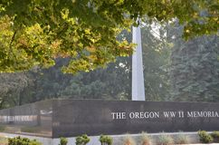 WW2战争纪念建筑在萨利姆,俄勒冈 库存照片