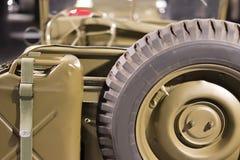 美国军事葡萄酒车WW2时间 回到视图 免版税库存图片